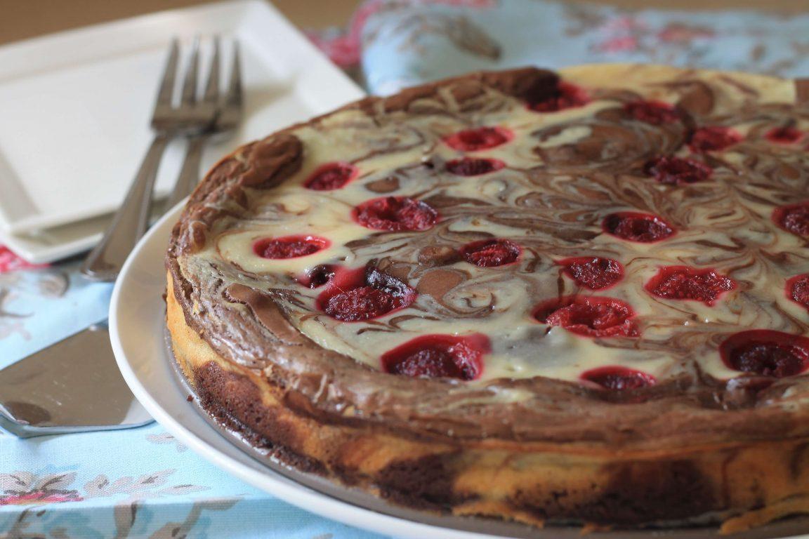 בראוניז שוקולד - גבינה עם פטל