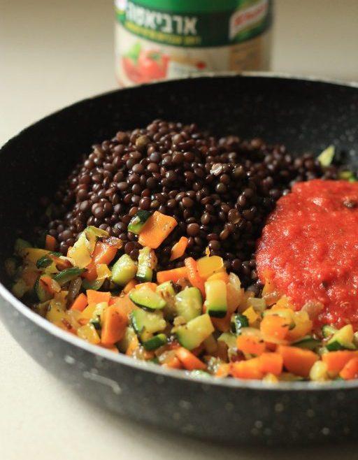קדאיף במילוי ראגו ירקות ועדשים