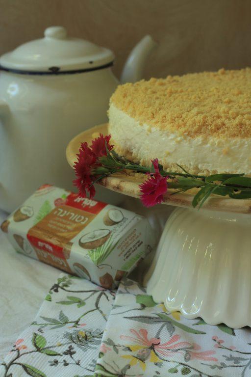עוגה גבינה קרה עם פירורים